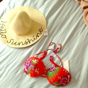 Other - NEW Vibrant orange & floral bikini top